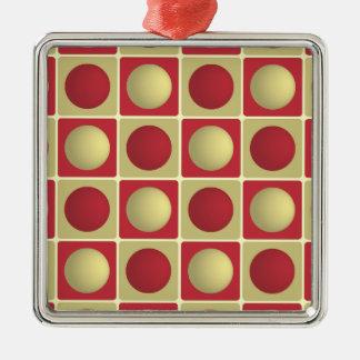 Buttons in Squares Red Premium Square Ornament