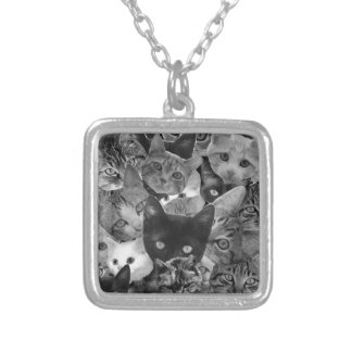 BW Cat Collage Square Pendant Necklace