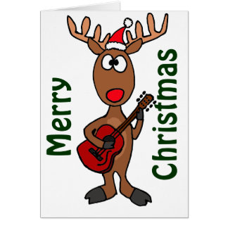 BY- Reindeer Playing Guitar Greeting Card