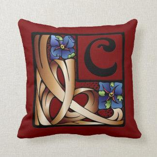 """C"" Monogram Art Nouveau Square Pillow #1 Throw Cushion"
