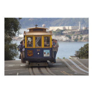Cable car chugs up Hyde Street in San Photographic Print