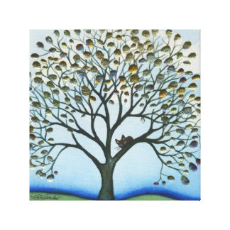 Cairo Whimsical Cat in Tree Canvas Print