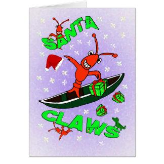 Cajun Crawfish Santa Claws Christmas Greeting Card