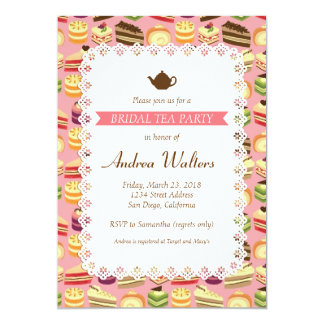 Cake Buffet (Pink) Bridal Shower Tea Party 13 Cm X 18 Cm Invitation Card