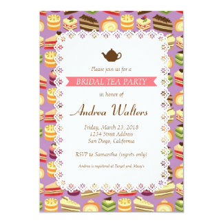 Cake Buffet (Purple) Bridal Shower Tea Party 13 Cm X 18 Cm Invitation Card