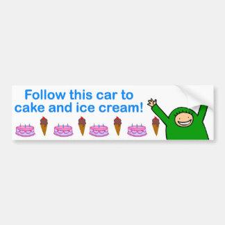 Cake & Ice Cream (Blue Text) Bumper Sticker