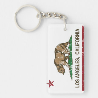 california flag los angeles distressed products Double-Sided rectangular acrylic key ring