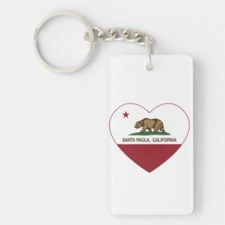 california flag santa paula heart Double-Sided rectangular acrylic key ring