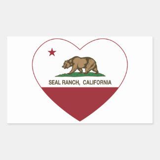 california flag seal ranch heart rectangular sticker