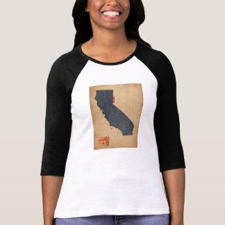 California Map Denim Jeans Style Tee Shirt