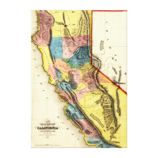 CaliforniaPanoramic Map Gallery Wrapped Canvas