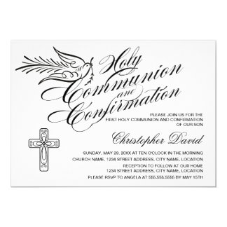 Calligraphy Dove Holy Communion and Confirmation 13 Cm X 18 Cm Invitation Card