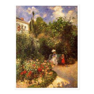 Camille Pissarro - Garden 1877 bench shade tree Postcard