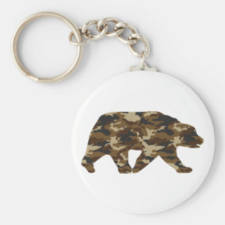 Camouflage Grizzly Bear Silhouette Basic Round Button Key Ring
