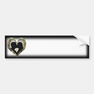 Camouflage Heart with Kissing Couple Bumper Sticker
