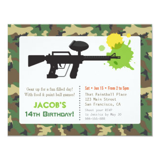 Camouflage Print Paint ball Birthday Party 11 Cm X 14 Cm Invitation Card