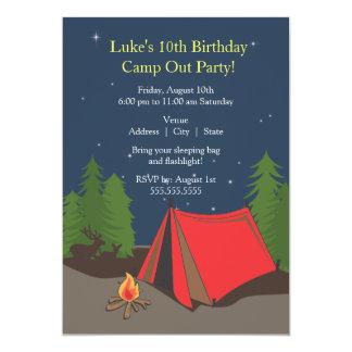 Camping Birthday Party   Boy 13 Cm X 18 Cm Invitation Card