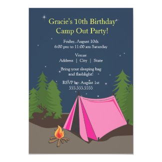Camping Birthday Party | Girl 13 Cm X 18 Cm Invitation Card