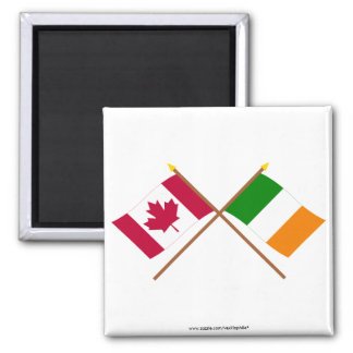 Canada and Ireland Crossed Flags Square Magnet