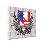 Canadian-American Shield Flag Gallery Wrap Canvas