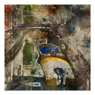 Canals of Venice Italy Watercolor