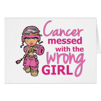 Cancer Messed With The Wrong Girl 2 Breast Cancer Greeting Card