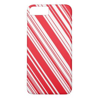 Candy Cane Red and White Diagonal Multi Stripes iPhone 7 Plus Case