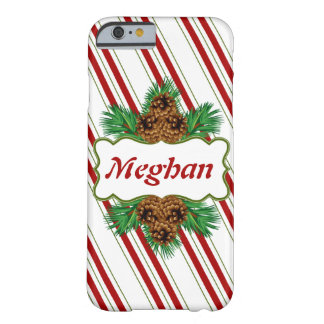 Candy Cane Stripes Christmas Holidays Personalized Barely There iPhone 6 Case