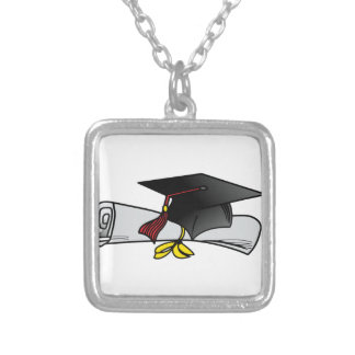 Cap and Diploma Square Pendant Necklace