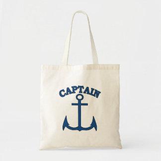 Captain Light Blue Anchor Canvas Tote Bag