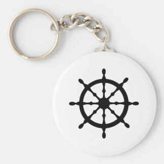 captain ship steering wheel basic round button key ring