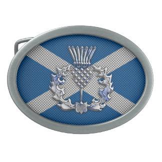 Carbon Fiber Print Scotland Flag Oval Belt Buckle