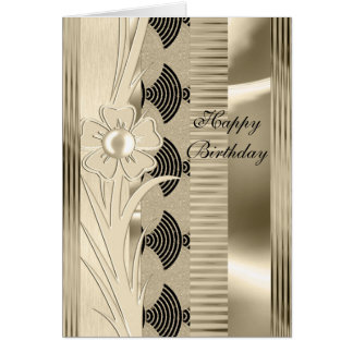 Card Birthday Light Floral Gold Art Deco