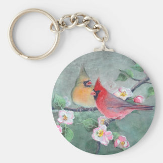CARDINALS & APPLE BLOSSOMS by SHARON SHARPE Basic Round Button Key Ring