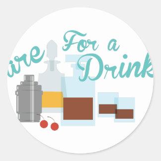 Care For Drink Round Sticker