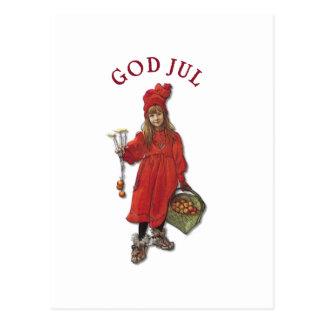 Carl Larsson Brita God Jul Christmas Greeting Postcard