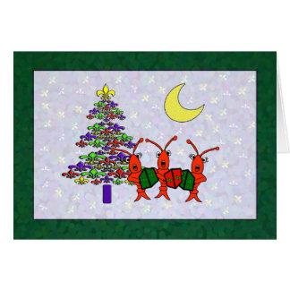 Caroling Crawfish Fleur de Lis Christmas Greeting Card