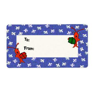 Caroling Crawfish Fleur de Lis Gift Labels