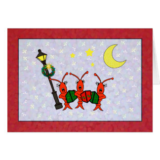 Caroling Crawfish / Lobster Trio Christmas Card
