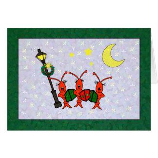 Caroling Crawfish / Lobster Trio Christmas (green) Greeting Card