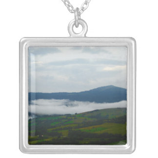 Carpathian Mountains in the Morning Square Pendant Necklace
