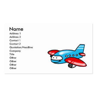 cartoon airplane pack of standard business cards