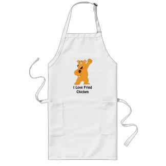 Cartoon Bear Holding Fried Chicken Drumstick Long Apron