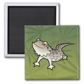 Cartoon Bearded Dragon / Rankin Dragon Square Magnet