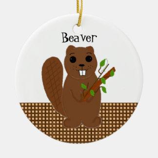 Cartoon Beaver Round Ceramic Decoration
