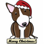 Cartoon Brindle Bull Terrier Christmas Ornament Photo Sculpture Decoration