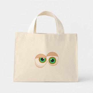 Cartoon eyes mini tote bag