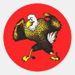 Cartoon Fighting Eagle Round Sticker