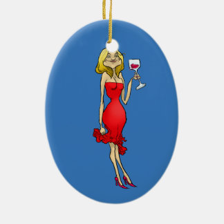 Cartoon illustration of a woman in a red dress. ceramic oval decoration