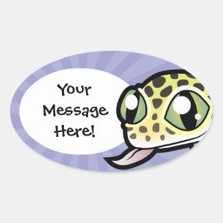Cartoon Leopard Gecko Oval Sticker